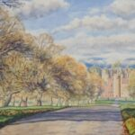"""Approach to Glamis Castle"", watercolour, SOLD"