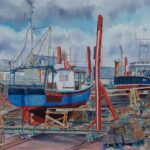 """Arbroath Boat Yard"", watercolour, 51x58cm framed, SOLD"