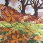 """Autumn Leaves"", textile, 36x29cm framed"