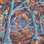 """""""Blue Trees"""", textile, 49x35cm wall hanging, SOLD"""
