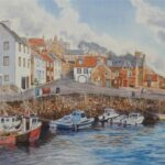 """""""Crail Harbour"""", watercolour, 50x63cm framed, SOLD"""