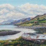 Over Loch Ewe to Beinn Airigh Charr from Inverasdale, oil, SOLD