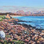 Evening Light on The Torridons from Big Sand, Gairloch, oil, 27x57cm framed, £260