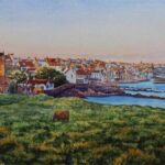 """""""Evening Sunlight, St Monans"""", watercolour, 43x64cm framed"""