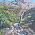 Flowerdale Waterfall, Gairloch, oil, 53x43cm framed, £245
