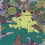 """""""Frog"""", textile, 33x33cm framed"""