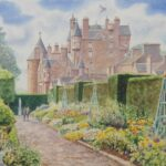 """Italian Garden, Glamis Castle"", watercolour, 41x48cm framed"