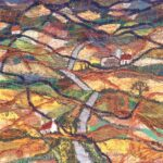 """""""Lie of the Land"""", textile, wall hanging 41x35cm, SOLD"""