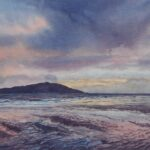 Sunset over Longa Island, Gairloch, watercolour, 42x62cm framed, £240; prints available