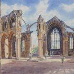 """Melrose Abbey"", watercolour, 43x48cm, framed"
