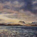 Morning Light on The Torridons, watercolour, SOLD
