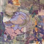 """Pictish Puzzle II"", textile, 38x33cm framed"