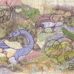 """Pictish Puzzle"", textile, 35x43cm framed"
