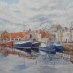 """""""Pittenweem Harbour"""", watercolour, 53x63cm framed"""