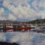 Reflections, Gairloch Harbour, oil, 55x75cm framed, £560