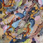 """Rock Pool 4"", textile, framed size 34x34cm"