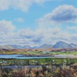 Towards Letterewe from Inverasdale, oil, 27x57cm framed, £265