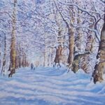 """Wintry Caddam Wood"", watercolour, 39x56cm framed"